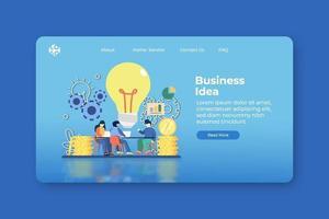 illustration vectorielle de design plat moderne. page de destination de l'idée d'entreprise et modèle de bannière Web. idée innovante et créative, solution de nouvelles idées, résolution de problèmes, solution commerciale, brainstorming, travail d'équipe. vecteur