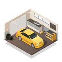 intérieur isométrique de garage de voiture vecteur