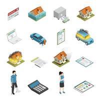 icônes isométriques d'assurance vecteur