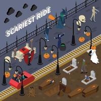 composition isométrique de monstre halloween