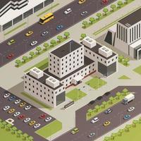 composition isométrique des bâtiments gouvernementaux vecteur