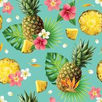 modèle sans couture d'ananas réaliste vecteur