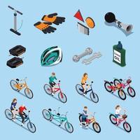 icônes isométriques de vélo vecteur