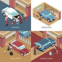 concept de design de garage isométrique vecteur