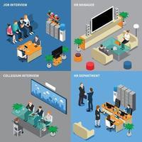 recrutement embauche gestion des ressources humaines isométrique 2x2 vecteur