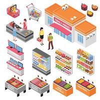 ensemble de supermarché isométrique vecteur