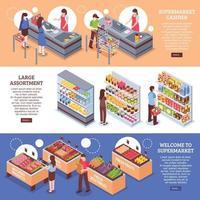 bannières horizontales de supermarché isométrique vecteur