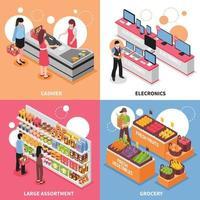concept de design de supermarché isométrique vecteur