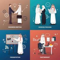 gens d'affaires arabes 2x2 vecteur