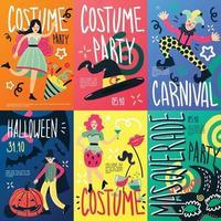 pancartes de doodle de fête costumée vecteur