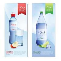 bannières verticales de bouteilles en plastique vecteur
