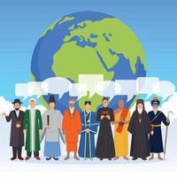 composition plate de personnes de religion vecteur
