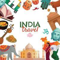 cadre de voyage en Inde vecteur