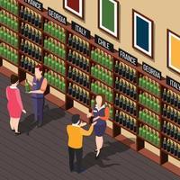composition isométrique du magasin de vin