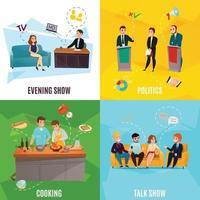 concept de participants talk show vecteur
