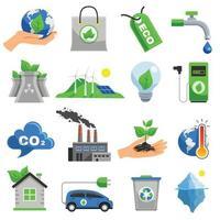 jeu d & # 39; icônes d & # 39; écologie vecteur