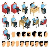 création constructeur homme assis ensemble vecteur