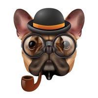 bouledogue de chien hipster vintage rétro réaliste vecteur
