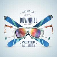 affiche du club de ski vecteur