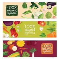 jeu de bannières de légumes vecteur