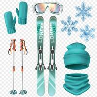 ensemble d'hiver de ski vecteur