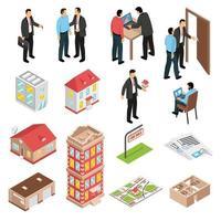 ensemble d'agence immobilière isométrique