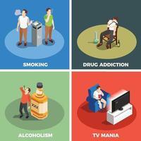 addictions mauvaises habitudes drogues isométrique 2x2 vecteur