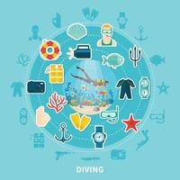 illustration plate de plongée vecteur