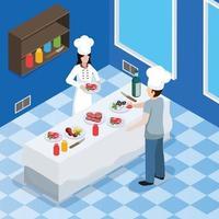 composition isométrique intérieure de cuisine professionnelle vecteur