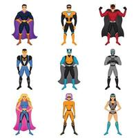 ensemble de costumes de super-héros vecteur