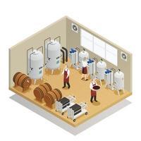 composition isométrique de la production de vin vecteur