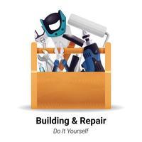 boîte à outils d'instrument de constructeur vecteur