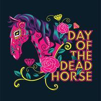 Sugar Skull Horse inspiré de Dia de los Muertos vecteur
