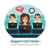 illustration du centre d'appels de soutien vecteur
