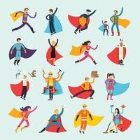 personnes plates orthogonales de super-héros vecteur