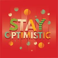 Le mot de rester optimiste typographie avec effet de glitch et fond de miroir vecteur