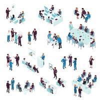 ensemble de coaching en éducation commerciale isométrique vecteur