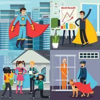 personnes plates orthogonales de super-héros 2x2 vecteur