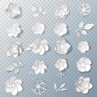 Ensemble de fleurs en papier blanc réaliste 3d vecteur