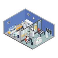 fond isométrique de production pharmaceutique vecteur
