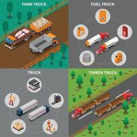 véhicule camion isométrique 2x2 vecteur