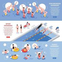 bannières de sport de natation isométrique vecteur