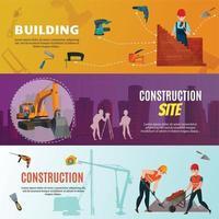 Bannières horizontales de travailleurs de la construction vecteur