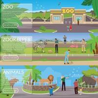 bannières plates de zoo vecteur