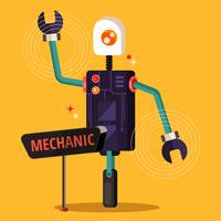robot mécanicien vecteur