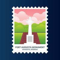 Fort Augusta Monument Géorgie États-Unis Timbre vecteur