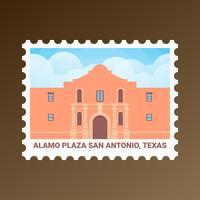 Alamo Plaza San Antonio Texas États-Unis Stamp vecteur