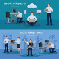 ingénieur réseau, administrateur informatique, compositions à plat vecteur