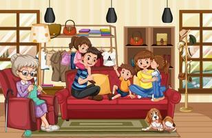 famille heureuse dans la scène du salon vecteur