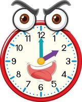 personnage de dessin animé horloge avec expression faciale vecteur